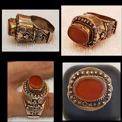 Massive Greek Old Antique Gold Huge Unique Ring With Ancient Cornelian Stone