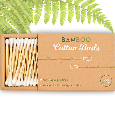 Alyn Bamboo Cotton Wool Buds | Pack of 1 200 Pieces | 100% Biodegradable Organic