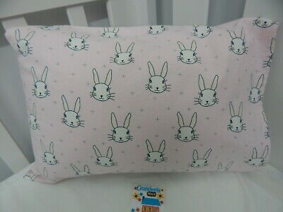 Pillowcase Flannelette Cot Toddler Size Pink Bunnies 100% Cotton Snuggly Warm