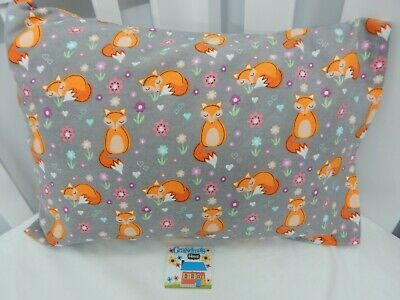 Pillowcase Flannelette Cot Toddler Size Cozy Foxes 100% Cotton Snuggly Warm