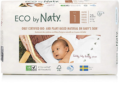 Eco by Naty - Premium Disposable Nappies for Sensitive Skin, Size 1, 4 Packs of