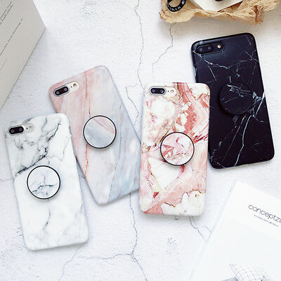 Art Marble Phone Case Cover For iPhone XS Max XR 7 8 Plus With POP Up Socket UK
