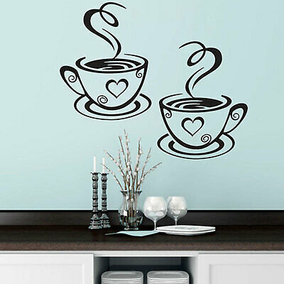 2 Coffee  Wall Stickers Cups Kitchen Cafe Vinyl Art Decals Pub Home Decals Love