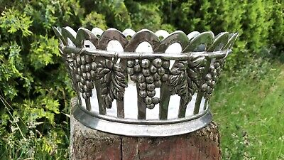 Beautiful Vintage Silea Silver Plated Large Heavy Fruit Bowl With Grape Design *