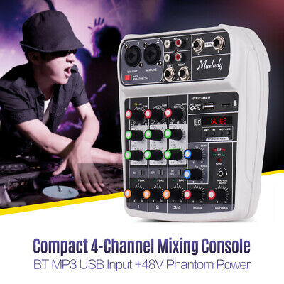 Muslady AI-4 4Channel BT Mixing Console Digital Audio Mixer with Sound Card D9A4