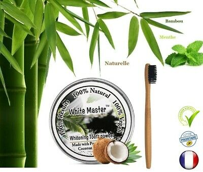 Kit Charbon actif poudre Naturel blanchiment dents + brosse dents Bamboo bio new