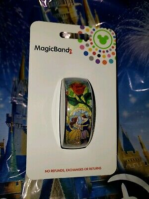 Disney STAINED GLASS BEAUTY & THE BEAST BLUE Magic Band 2.0 Magicband Belle