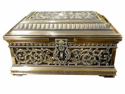 """Huge Brass Plated Jewellery Box Padlock Ornate Baroque Antique for Mother 13"""""""
