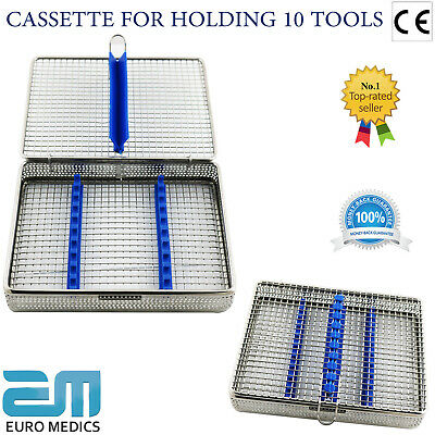 Sterilization Cassette Rack Tray Holds 10 Dental Surgical Instruments Autoclave