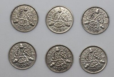 George V SILVER 3d Threepence Date Run 1931 to 1936 - 6 coins
