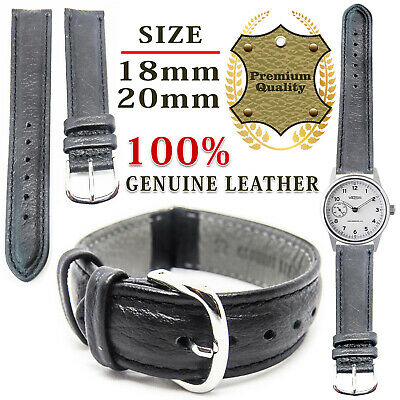 Mens Ladies Genuine Soft Leather Replacement Watch Straps Band 12mm 18mm 20mm UK