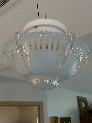 Antique 1930s-40s Blue Art Deco Glass Ceiling Light Fixture Vintage Chandelier
