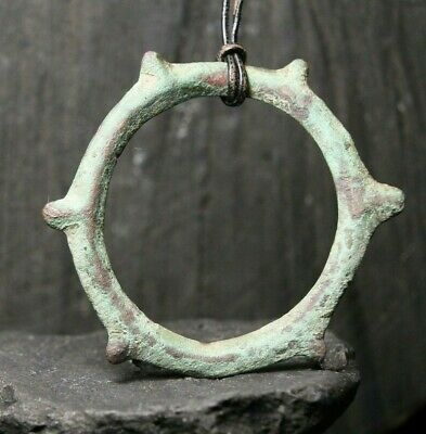 Rare Ancient Scandinavian Solar Amulet, Bronze Patina Pendant, 3-9th Century AD.