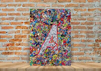 Marvel Avengers Comic Characters Collage Poster or Canvas Art Print A3 A4 Sizes