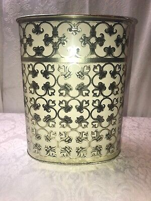 Vintage Decoware Tin Metal Ivory & Gold Art Deco Garbage Trash Waste Can Basket