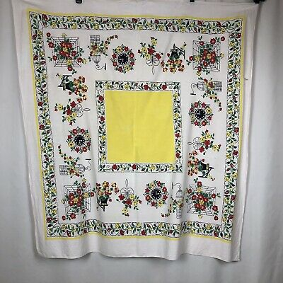 "Vintage 50s Tablecloth Red Yellow Green White Flowers Cage Clock 43"" x 47"""