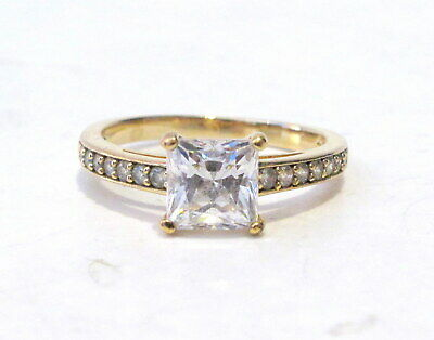 cb2b5ab418313 SWAROVSKI SQUARE CLEAR Crystal Engagement Ring ATTRACT Gold Plated ...