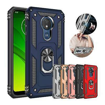 For Motorola Moto G7 Power Play Hybrid Magnetic Ring Stand Case Shockproof Cover