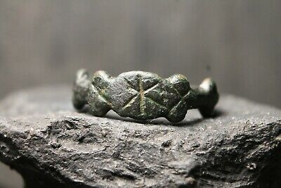 Rare Ancient Viking Bronze Runes Ring , Antique Pattern, 6th-11th Century AD.
