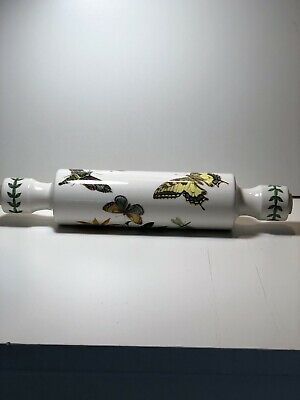 Porcelain Rolling Pin 14' open end hot /cold water Floral/Butterfly Design.