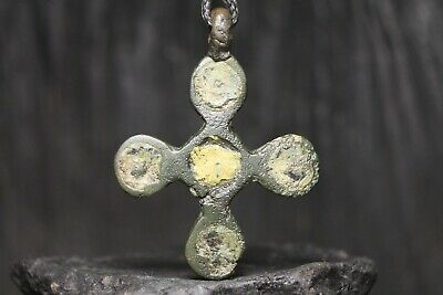 Ancient Viking Bronze Orthodox Cross, Rare Christian Pendant, 9-11th century AD