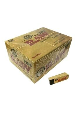 100% Raw Rolling Paper Tips Box of 50 Packs Roach Full Box 50 PER Booklets