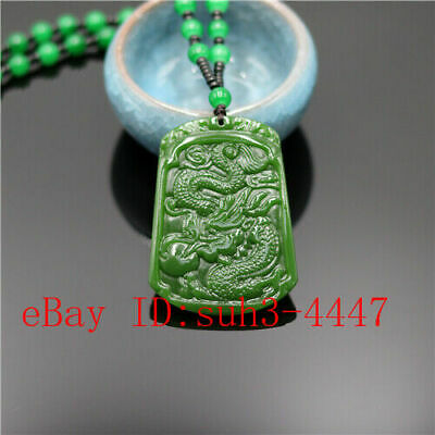 Green Dragon Carved Jade Pendant Necklace Fashion Charm Jewelry Amulet Gifts
