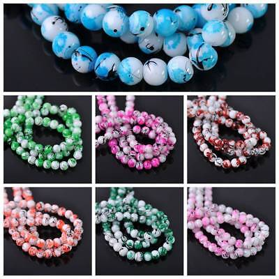 Wholesale 6mm Round Spots Coated Opaque Glass Loose Beads Jewelry Craft Findings