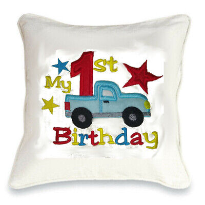 Add name Personalised Embroidered Birthday Truck Cushion change colours /& age