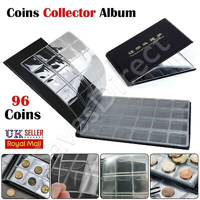 96 Coin Album Coins 50p Penny Money Storage Case Holder Book Collector Folder UK