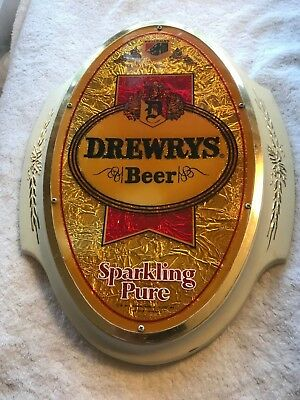 Vtg. Sign Drewrys Beer, Sparkling Pure, Oval - Heileman- Made in Canada
