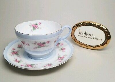 SHELLEY Pink Bridal Rose Henley Blue Band 13247 /S10 TEA CUP & SAUCER Gold Trim