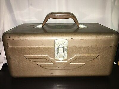 JC Higgins Fishing Tackle Box Metal Vintage