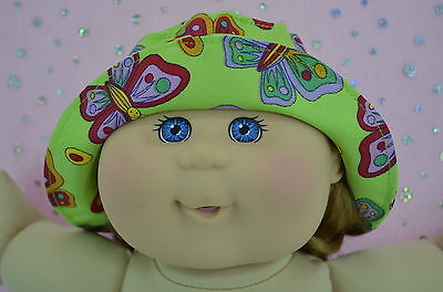 """Play n Wear Dolls Clothes For 14"""" Cabbage Patch LIME/BUTTERFLY DRILL SUN HAT"""