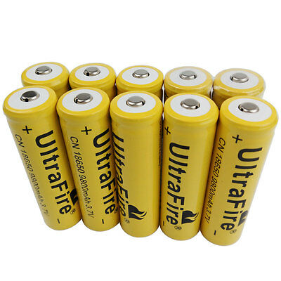 10X 3.7V 18650 9800mAh Li-ion Rechargeable Battery for Flashlight LED Torch Lamp