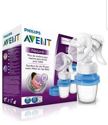 Avent Natural Manual Breast Pump Newborn Baby Feeding Teat Breast Pad 4oz Bottle