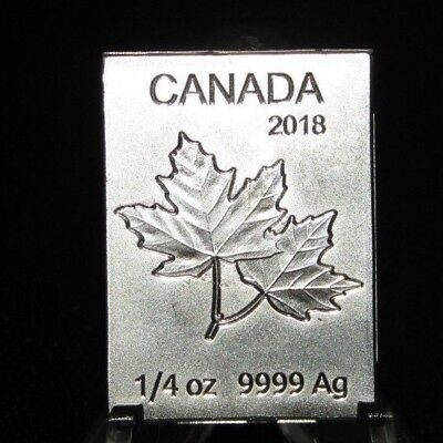 2018 one Dollar Silver 9999 1/4 oz quarter oz Maple leaf bar Royal Canadian Mint