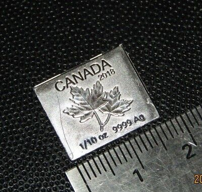 2018 Half Dollar Silver 9999 1/10 oz Tenth oz Maple leaf bar Royal Canadian Mint