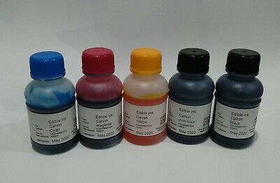 EDIBLE INK REFILL SET 100ml x5 Bottles for CANON PRINTERS CAKE DECORATING