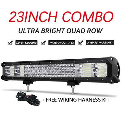 23inch Quad Row LED Work Light Bar Combo Offroad Pickup w/Wire for Toyota Camry