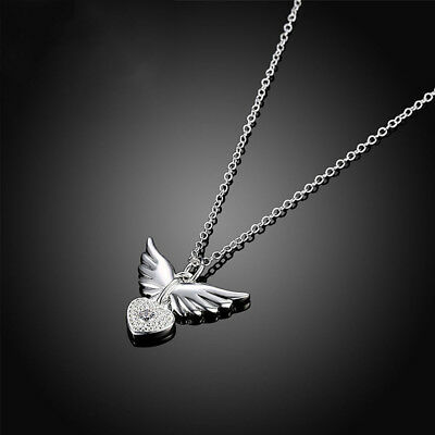 Women Angel Wing Crystal Love Heart Flying Wings Silver Plated Necklace PartyAU