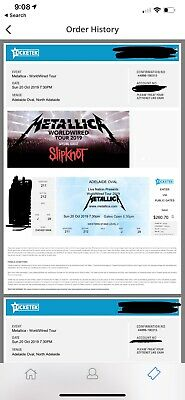 Metallica Tickets x 2 Adelaide Oval Sunday 20th October 2019