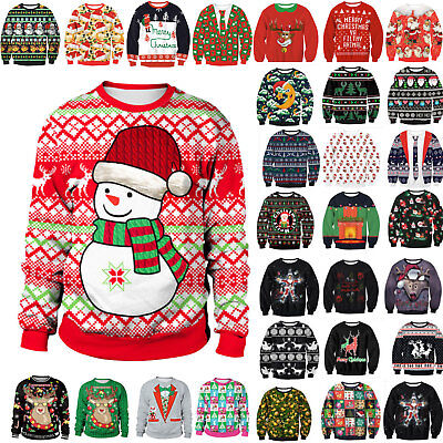 Mens Womens Xmas Santa Jumper Sweatshirt Unisex Ugly Christmas Sweater Outwear
