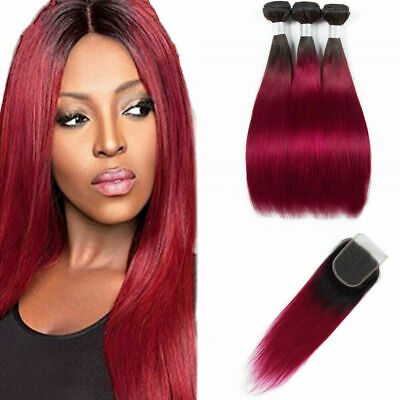 Ombre Red tissage bresilien en lot avec closure 9A cheveux humains with closure