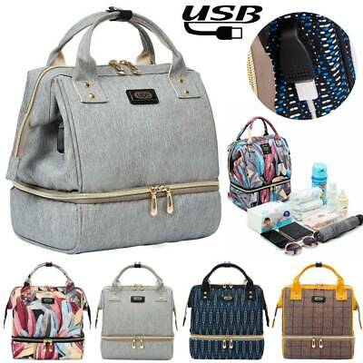 UK Large Baby Diaper Nappy Mummy Changing Bags USB Backpack Multi-Function Bag