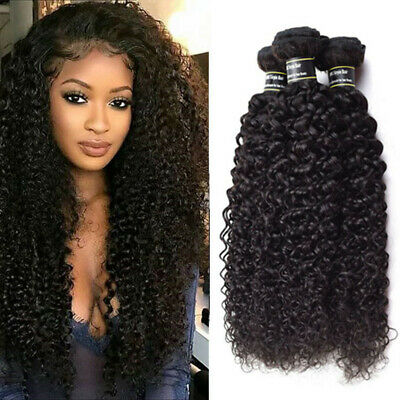 Kinky Curly vrais cheveux humains 9A boucles Tissage Bresilien les extensions 1b