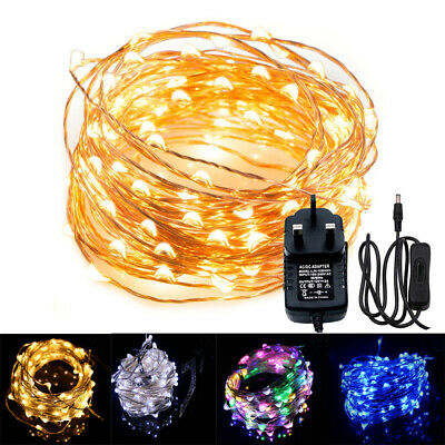 LED Micro Rice Wire Copper Fairy String Light 12V UK Plug in Christmas Party