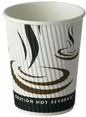 500 x 12oz Weaved Paper Coffee Cups Kraft Ripple 3 Ply Insulated Tea Espresso