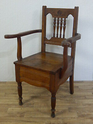 Antique Victorian solid mahogany/oak commode chair with original ceramic bowl