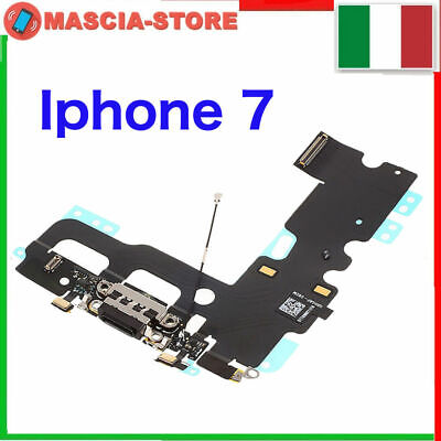 IPHONE 7 Flex flat Dock Connettore Ricarica Cavo Microfono + Jack Audio NERO